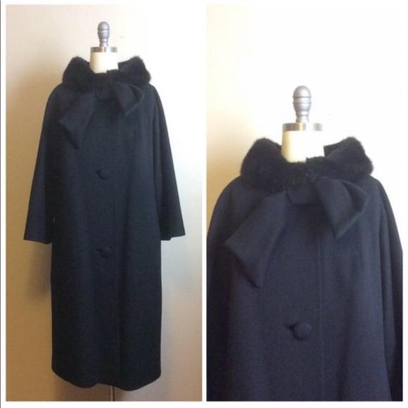 Vintage Jackets & Blazers - Vintage 1950s Black Wool Lilli Ann Swing Coat